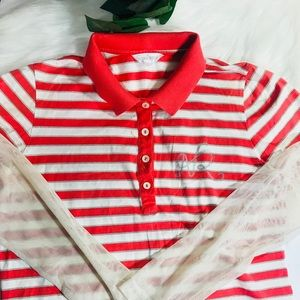 Nina Ricci red and white stripe with mesh sleeves